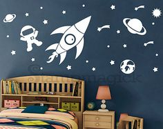Outer Space Wall Decal Rocket Vinyl Wall Decor by stampmagick