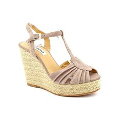 Steve Madden Mammbow Womens Size 9.5 Beige Peep Toe Suede Wedge Sandals Shoes * Remarkable product available now. : Wedge sandals