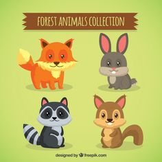 animais agradáveis florestais com os olhos bonitos Vetor grátis
