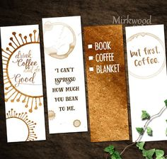 Printable Coffee Bookmarks, Set of 4 Coffee Bookmarks, Coffee Lover Gift, But First, Coffee! - This listing is for a set of 4 printable Coffee bookmarks. We all love coffee (dont we?) Buy once a - Creative Bookmarks, Diy Bookmarks, Crochet Bookmarks, Coffee Lover Gifts, Gift For Lover, Free Printable Bookmarks, Origami, Bookmark Craft, Bookmark Ideas