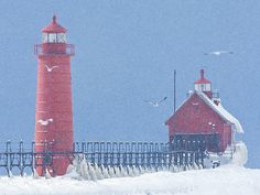 Grand Haven Lighthouse and Pier in Snow