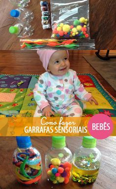 Atividade para bebês de 6 a 12 meses: garrafas sensoriais & blocos grudentos - tempojunto atividades para crianças