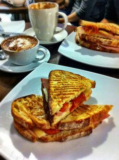 Federation ham sandwich with sundried tomato & truffle oil at Coffee Trails, Sydney, NSW