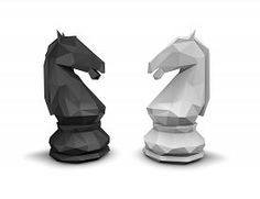 pic of chess horse - Geometric chess horse black and white isolated on white background - JPG