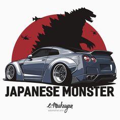 T-shirt for true fans Nissan GTR. Japanese Monster