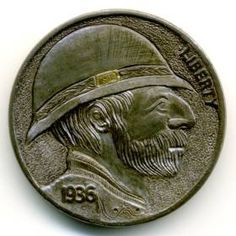 Steve Ellsworth -  Fernando Montañas Hobo, Buffalo, Classic Style, Coins, Carving, Personalized Items, Silver, Rooms, Wood Carvings