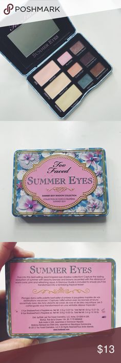 Too Faced Summer Eyes Palette Gently used, but still has a whole lot of life left. I haven't used this palette in a very long time. Will clean thoroughly before being shipped. Too Faced Makeup Eyeshadow