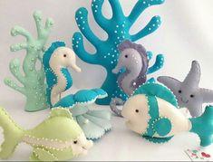 Arts And Crafts Magazine Key: 9780063732 Coastal Christmas Stockings, Felt Doll House, Mermaid Birthday Decorations, Felt Fish, Mermaid Crafts, Felt Baby, Under The Sea Party, Halloween Crafts For Kids, Handmade Felt