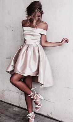 Champagne Homecoming Dresses,Sexy Prom Dress,Off the Shoulder Homecoming