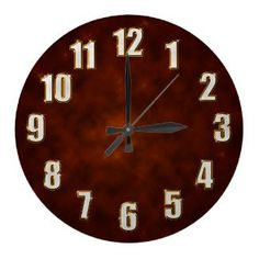 Bling stylish wall clock with sparkling numbers on brown fractal background $24.95 on Zazzle