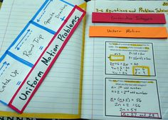 Middle School Math - Interactive Notebooks:  Uniform Motion Problems (Distance, Rate and Time)