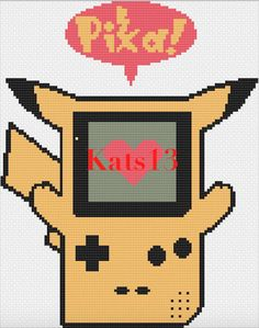 GameBoy Pikachu Geek broderie point de croix Cross stitch Pattern PDF e307fad0b11