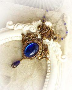 Antique gold necklace with cobalt blue jewel gothic renaissance victorian necklace fantasy mythology sapphire stone medieval necklace Raw Crystal Necklace, Gold Necklace, Antique Rings, Antique Gold, Gothic Jewelry, Vintage Jewelry, Vintage Gothic, Sapphire Stone, Necklace Designs