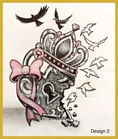 A cool heart locket with broken-hearted, crown and birds flying away with pink bow Idk why but I really like this Trendy Tattoos, Sexy Tattoos, Unique Tattoos, Beautiful Tattoos, Body Art Tattoos, Sleeve Tattoos, Tatoos, Pretty Skull Tattoos, Coeur Tattoo