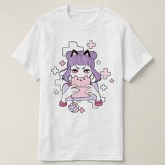 Shop Gamer Grrl T-Shirt created by ShariDraws. Personalize it with photos & text or purchase as is! Grunge Outfits, Pastel Goth Outfits, Pastel Goth Fashion, Kawaii Fashion, Pastel Goth Clothes, Pastel Shoes, Pastel Punk, Egirl Fashion, Pink Clothes
