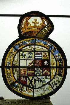 Stained glass installed in preperation for Queen Elizabeth I's visit in the 1560's by Sir Thomas Smith.