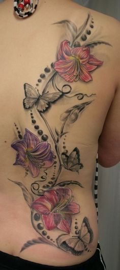 Flower Back Tattoo Designs . Lower Back Tattoos For Guys Flower Tattoo Back, Flower Tattoo Designs, Flower Tattoos, Rose Tattoos, Flower Designs, Back Tattoo Women, Tattoo Girls, Girl Tattoos, Tatoos