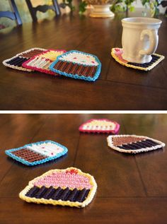 Crocheted cupcake coasters