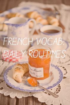 Looking for a list of French words and phrases for daily routine vocabulary? This article is very helpful for French learners especially beginners. French Teacher, Teaching French, How To Speak French, Learn French, Coffee Time, Tea Time, Morning Coffee, Sunday Coffee, Sunday Brunch