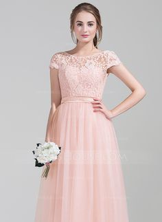 A-Line/Princess Scoop Neck Floor-Length Bow(s) Zipper Up Sleeves Short Sleeves No Pearl Pink Spring Summer Fall General Plus Tulle Lace Bridesmaid Dress