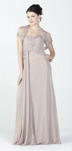 Embellished Top Chiffon Long Mocha Formal Dress With Bolero Jacket $237.99