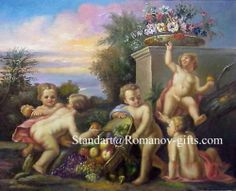 Cupids , Oil Painting, Romanov Collection. Great for Child's Bedroom.