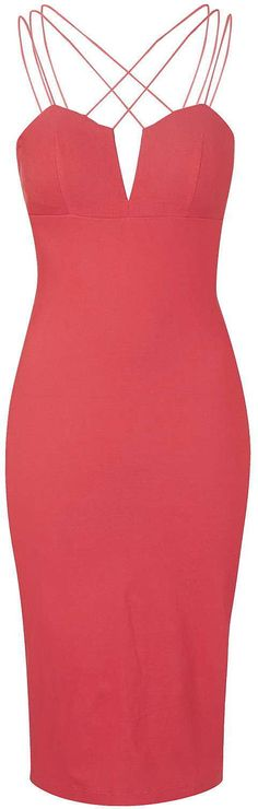 Womens coral red multi cross strap bodycon by rare from Topshop - £39 at ClothingByColour.com