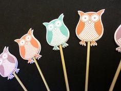 Dekoration - Muffin / Cupcake Stecker Eulen Deko 5 Stück - ein Designerstück von kreativesherzerl bei DaWanda