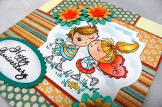 @Kristine Reynolds has created an adorable Anniversary card with #Stampendous Kissin #Kiddos