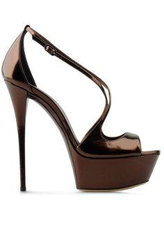 Early Fall Shoes 2012 - Casadei Bronze Platform Sandals