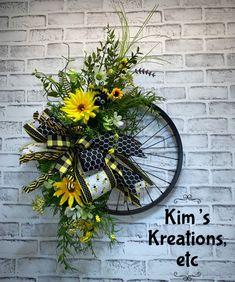 ohana tattoo for men \ ohana tattoo ; ohana tattoo with flower ; ohana tattoo for men ; ohana tattoo with flower hawaii Summer Door Wreaths, Wreaths For Sale, Wreaths For Front Door, Holiday Wreaths, How To Make Wreaths, Front Door Decor, Front Doors, Bicycle Wheel, Floral Hoops
