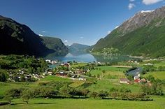 Skjolden at the end of the Sognefjord, Norway. The Sognefjord is the world's longest fjord, stretching 205 km inland until the village of Skjolden. In earlier times the fjord provided the most convenient way to travel from Bergen to the mountain villages in the inner country.