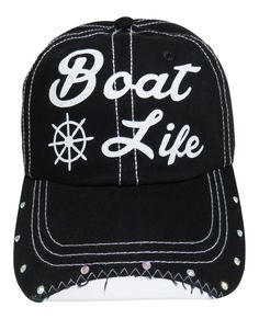 "White Glitter ""Boat Life"" Black Baseball Cap with Rhinestones on the bill of the cap!  Order now at www.shopspiritcaps.com!"