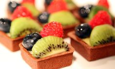 High Tea Catering by Sauce Catering - Love the Square shape and layout of fruit :)