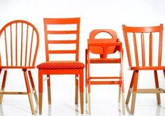 A collection of mismatched dining chairs can be easily united with a simple can of paint and a weekend. Perfect for thrift store and garage sale finds.