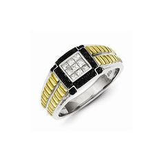 Sterling Silver and Gold Plated Black & White Diamond Men's Ring