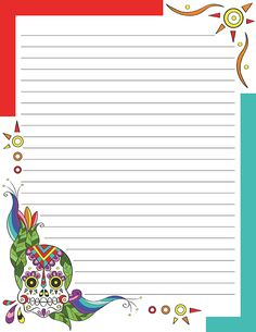 Free printable sugar skull stationery for x 11 paper. Available in JPG or PDF format and in lined and unlined versions. Printable Lined Paper, Free Printable Stationery, Free Printable Stickers, Printable Cards, Free Printables, Free Coloring, Coloring Pages, Sugar Scull, Bullet Journal Printables