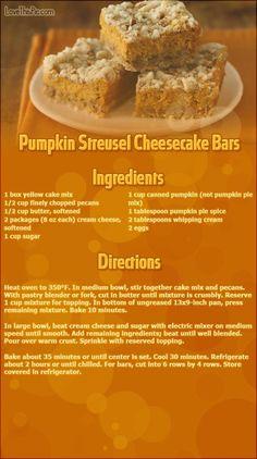 Pumpkin Streusel Cheesecake Bars thanksgiving recipes thanksgiving recipes