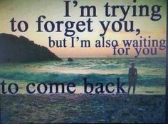 I'm trying to forget you, but I'm also waiting for you to come back.