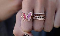 14kt rose gold and diamond pink tourmaline butterfly ring – Luna Skye