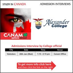 Study in Canada - Alexander College. For complete information & enrolment, Register Today!  #StudyAbroad #StudyinCanada #StudentVisa #StudyVisa #StudentVisaExpert #AlexanderCollege #CanamConsultants