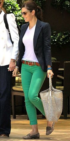 Mimic Jessica Biel in a chic mix of navy and mint, balanced out with a white tee.
