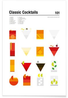 Classic Cocktails by Nick Barclay as Poster in Standard Frame Pub Design, Menu Design, Book Design, Layout Design, Cocktail App, Cocktail Book, Cocktail List, Cocktail Illustration, Aperol