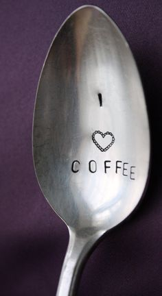 I Love Coffee, hand stamped spoon for a coffee lover. Custom Stamped Spoons by… Coffee Heart, Coffee Talk, Coffee Spoon, I Love Coffee, Coffee Break, My Coffee, Coffee Drinks, Morning Coffee, Coffee Cups