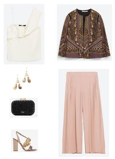 Ivory ruffle top+blush culotte pants+beige and gold ankle strap heeled sandals+black clutch with glitter+gold earrings+printed jacket. Spring First Communion Outfit 2016