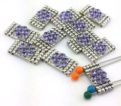 11 platinum light amethyst purple 4 hole beads B254