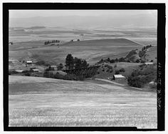 A view looking southeast over the Camas Prairie with Bridges 46-1 and 46-2 at Milepost 47 - Camas Prairie Railroad, Second Subdivision, From Spalding in Nez Perce County, through Lewis County, to Grangeville in Idaho County, Spalding, Nez Perce County, ID