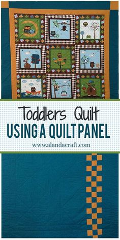 I made this toddler quilt from one quilt panel and added borders and corner squares. The back has a checkerboard panel down one side. A quick and easy way to make a quick quilt from a quilt panel. Quilting For Beginners, Quilting Tutorials, Quilting Designs, Quilting Tips, Sewing Machine Projects, Sewing Projects For Beginners, Christmas Sewing Projects, Christmas Quilting, Owl Quilts