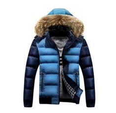 Мужские теплые с капюшоном вниз Зимняя куртка 2 тоны