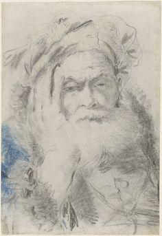 LORENZO BALDISSERA TIEPOLO - A Bearded Old Man Leaning His Head on His Hand, ca. 1760 - National Gallery of Art, Washington D.C.